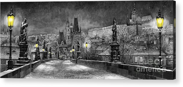 Prague Acrylic Print featuring the painting Bw Prague Charles Bridge 06 by Yuriy Shevchuk
