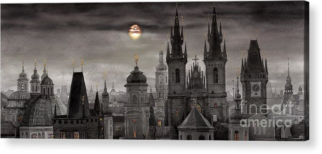 Cityscape Acrylic Print featuring the painting Bw Prague City Of Hundres Spiers by Yuriy Shevchuk