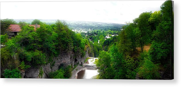 Cornell University Acrylic Print featuring the photograph Cascadilla Gorge Cornell University Ithaca New York Panorama by Thomas Woolworth