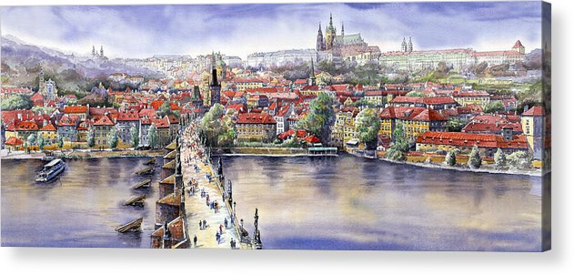 Watercolour Acrylic Print featuring the painting Panorama With Vltava River Charles Bridge And Prague Castle St Vit by Yuriy Shevchuk