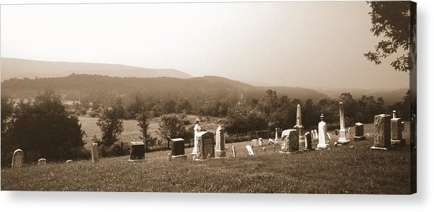 Cemetary Acrylic Print featuring the photograph 101708-1  On A Hillside In Pennsylvania by Mike Davis
