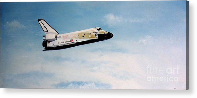 Shuttle Acrylic Print featuring the painting Challenger by Murphy Elliott