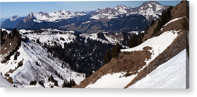 Panorama Acrylic Print featuring the photograph Morzine And Les Gets Panorama by John Gaffen