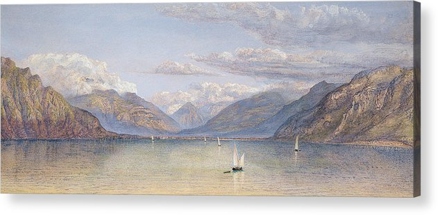 The Acrylic Print featuring the painting The Mountains Of St Gingolph by John Brett