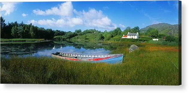 Architecture Acrylic Print featuring the photograph Boat Moored At A Harbor, Ellens Rock by The Irish Image Collection