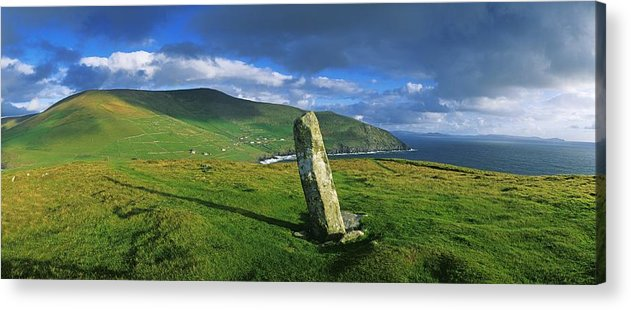 Co Kerry Acrylic Print featuring the photograph Stone On A Landscape, Ogham Stone by The Irish Image Collection