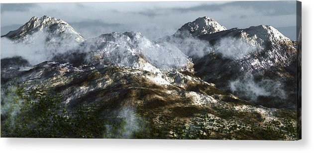 Mountains Acrylic Print featuring the digital art Cold Mountain by Richard Rizzo