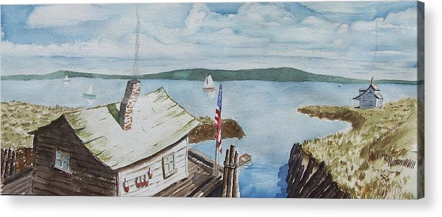 Puget Sound Acrylic Print featuring the painting Fishing Shack With Old Glory by Robert Thomaston