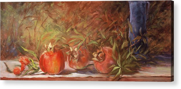 Still Life Acrylic Print featuring the painting Pomegranates by Jimmie Trotter