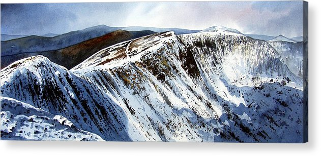 Helvellin Acrylic Print featuring the painting Striding Edge Leading To Helvellin Sumit by Paul Dene Marlor