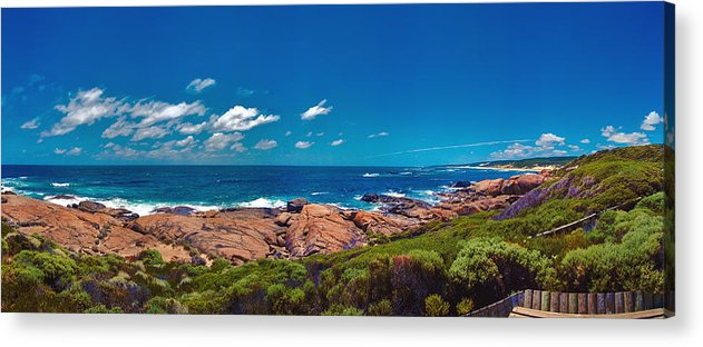 Busselton Jetty; Western Australia; Beach Panorama; Margaret River; Southern Hemisphere; Waterfront; Acrylic Print featuring the photograph Western Australia Beach Panorama Margaret River by David Zanzinger