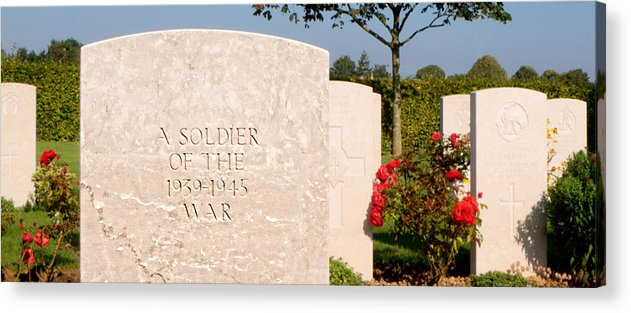 Bayeux Acrylic Print featuring the photograph Bayeux British Cemetery Unknown Soldier by Weston Westmoreland