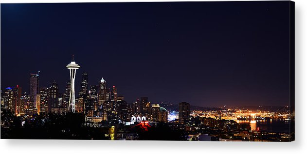 Seattle Acrylic Print featuring the photograph Colorful Citylights by Abhay P
