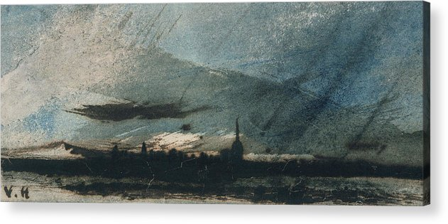 Town At Dusk (pen & Ink And W/c On Paper) Twilight Acrylic Print featuring the painting Town At Dusk by Victor Hugo