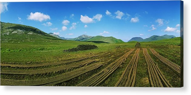 Co Galway Acrylic Print featuring the photograph Cut Turf On A Landscape, Connemara by The Irish Image Collection