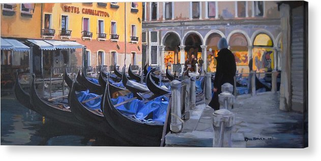 Landscape Acrylic Print featuring the painting Gondolas On The Canal by Jill Baker
