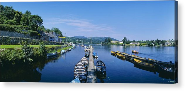 Boat Acrylic Print featuring the photograph High Angle View Of Rowboats In The by The Irish Image Collection