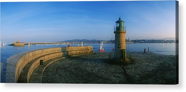 Building Exterior Acrylic Print featuring the photograph Light House At A Harbor, County Dublin by The Irish Image Collection