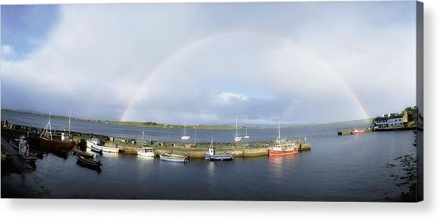 Boats Acrylic Print featuring the photograph Rainbow Over Harbour, Roundstone by The Irish Image Collection
