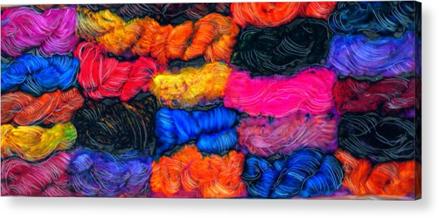 Fiber Arts Knitting Wool Yarn Spinning Weaving Rug Making Acrylic Print featuring the painting A Garden Of Yarn by FeatherStone Studio Julie A Miller