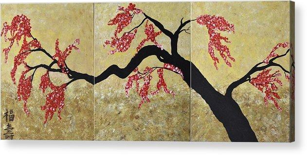 Asian Cherry Blossoms Flower Art- 3 Panels Art Tree Decor Cherry ...