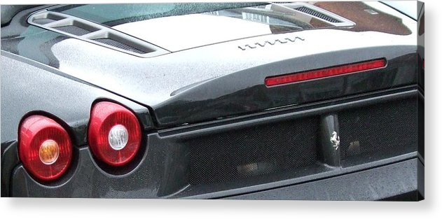 Car Acrylic Print featuring the photograph Black Ferrari by Deborah Brewer