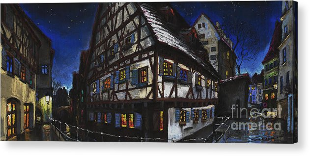 Pastel Acrylic Print featuring the painting Germany Ulm Fischer Viertel Schwor-haus by Yuriy Shevchuk