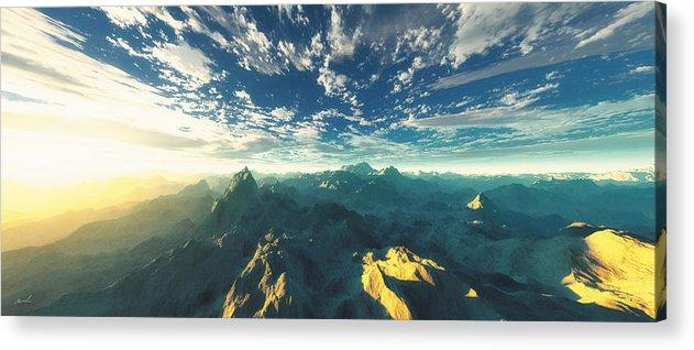 Mountains Acrylic Print featuring the digital art Heavens Breath 16 by The Art of Marsha Charlebois