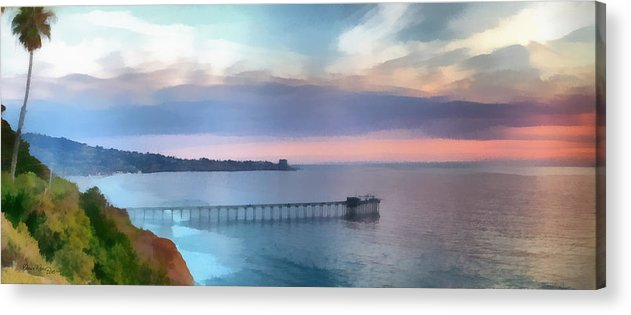 Pier; Scripps; Framed; Sunset; Tides; Waves; Rocks; Shelf; California; La Jolla; Coast; Sea; Ocean; Seascape; Clouds; Photographs; Paintings; Beach; Waves; Shoreline; Landscape; Aerial; Coastal; California; San Diego; La Jolla Beach Acrylic Print featuring the painting La Jolla Scripps Pier by Russ Harris