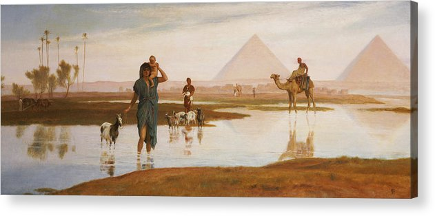Egyptian; Landscape; Pyramid; Male; Female; Herding; Herd; Goats; Child; Carrying; River; Desert; Orientalist Acrylic Print featuring the painting Overflow Of The Nile by Frederick Goodall