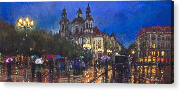 Prague Acrylic Print featuring the pastel Prague Old Town Square St Nikolas Ch by Yuriy Shevchuk