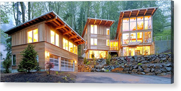 Architecture Acrylic Print featuring the photograph Modern Home In Woods by Will Austin