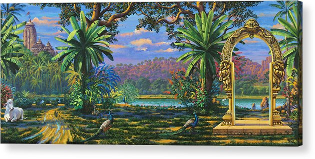 Landscape Acrylic Print featuring the painting Backdrop For Three Altars by Vrindavan Das