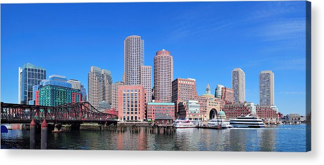 Boston Acrylic Print featuring the photograph Boston Skyline Over Water by Songquan Deng