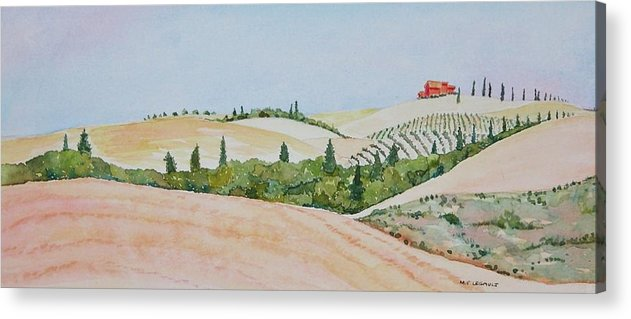 Landscape Acrylic Print featuring the painting Tuscan Hillside One by Mary Ellen Mueller Legault