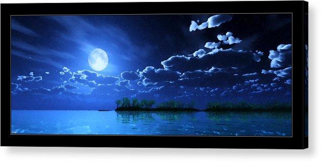 Landscape Acrylic Print featuring the digital art Under A Silvery Moon...artistic Effect by Tim Fillingim