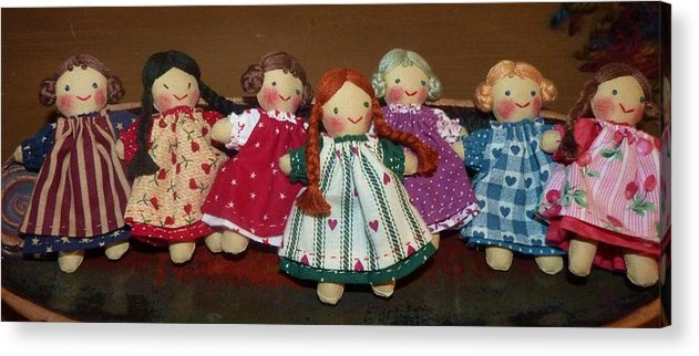 Dolls Acrylic Print featuring the photograph Seven Handmade Dolls by Jeanette Oberholtzer