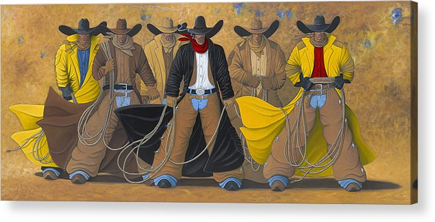 Large Cowboy Painting Of Six Cowboys. Acrylic Print featuring the painting The Posse by Lance Headlee