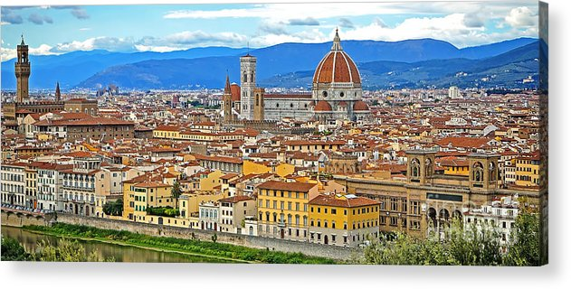 Florence Acrylic Print featuring the photograph 1167 Florence Italy Panorama by Steve Sturgill
