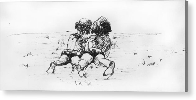 Beach Acrylic Print featuring the drawing At The Beach by Victoria Shea
