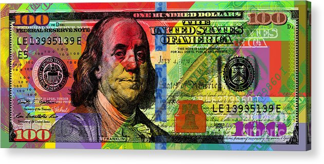 Franklin Acrylic Print featuring the digital art Benjamin Franklin $100 Bill - Full Size by Jean luc Comperat