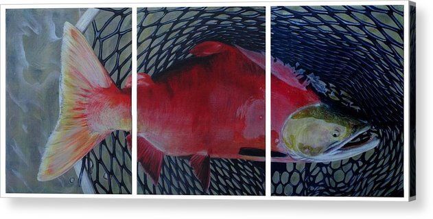 Salmon Acrylic Print featuring the painting Caught by Karen Peterson