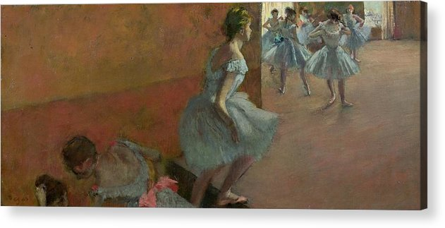 Dancers Acrylic Print featuring the painting Dancers Ascending A Staircase by Edgar Degas