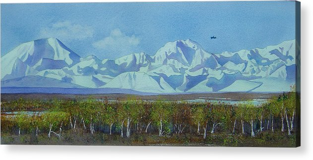 Denali Acrylic Print featuring the painting Denali Park Alaska by Teresa Boston