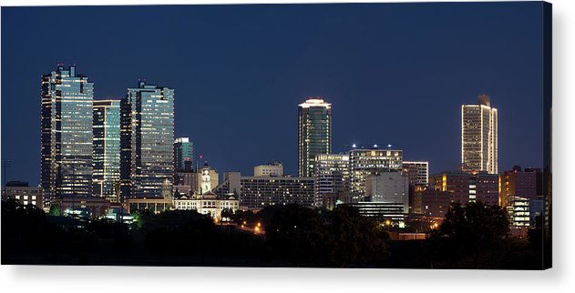 Fort Worth Acrylic Print featuring the photograph Fort Worth Skyline 051918 by Rospotte Photography