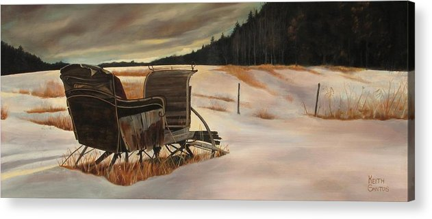 Old Sleigh Acrylic Print featuring the painting Imaginery Sleigh Ride by Keith Gantos