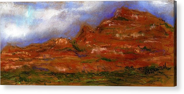 Landscape Acrylic Print featuring the painting Sedona Storm Clouds by Marilyn Barton