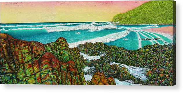 Seascape Acrylic Print featuring the painting Third Bay Coolum Beach Triptych by Joe Michelli