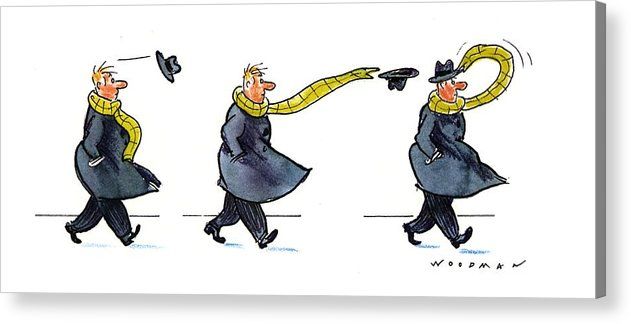 (sequence Of Three Drawings In Which A Man's Hat Is Blown Off By The Wind And His Very Long Scarf Reaches Out To Grab It) Nature Acrylic Print featuring the drawing New Yorker January 25th, 1993 by Bill Woodman