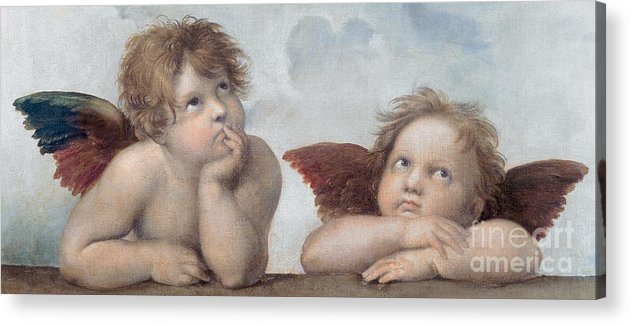 Putto Acrylic Print featuring the painting Putti Detail From The Sistine Madonna by Raphael